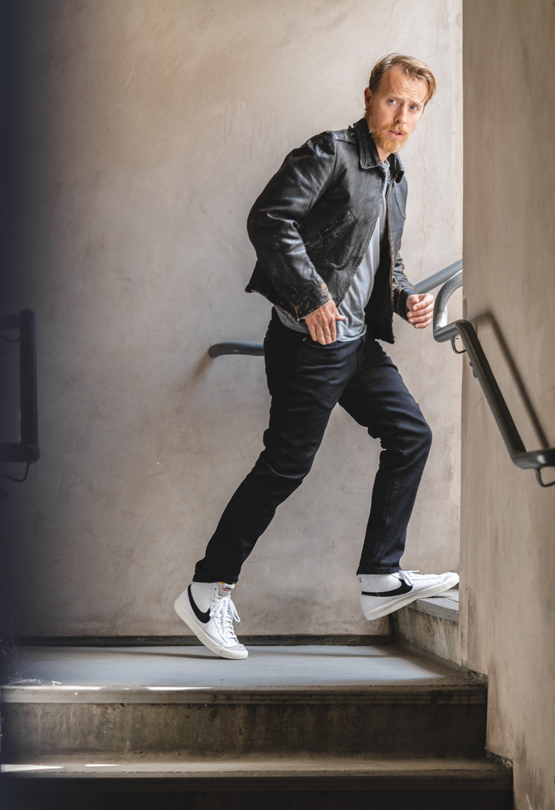 Nike Blazer Mid outfit with leather jacket and black jeans