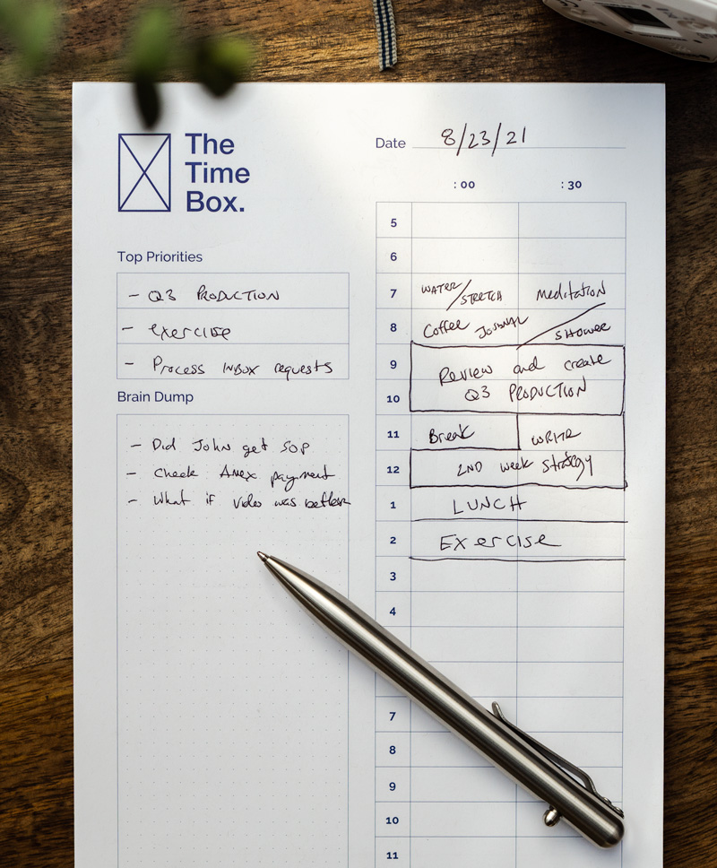 Time blocking notepad The Time Box