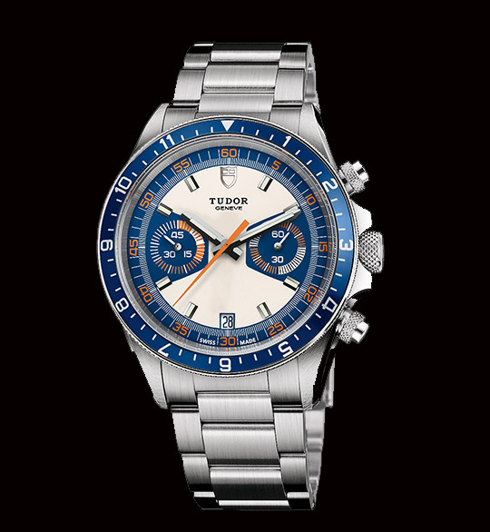 watch with silver metal strap and blue and white face