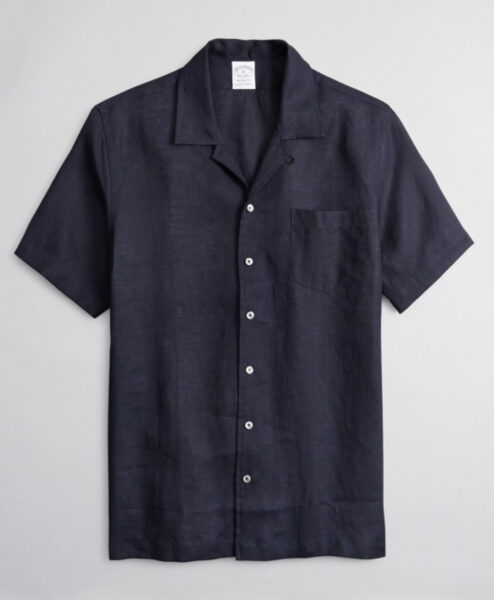 dark color short sleeve button up sport style shirt