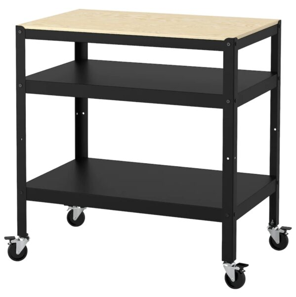 wood and metal utility cart