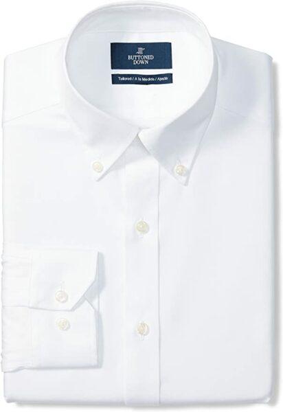 white button up long sleeve dress shirt