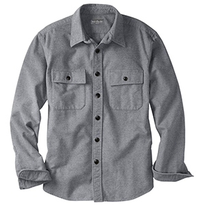 grey long sleeve button down chamois cloth shirt