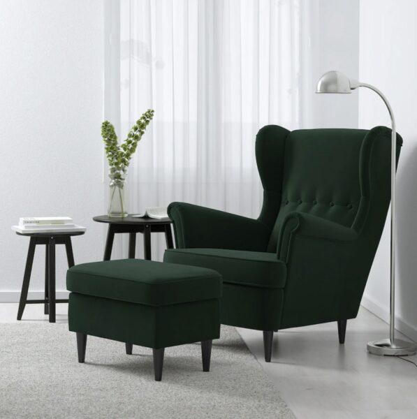 dark green wing chair