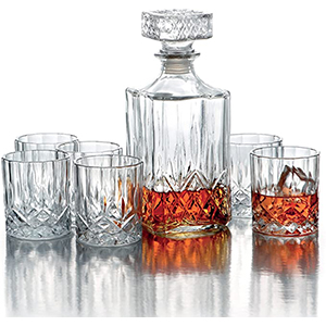 glass decorative whiskey decanter set