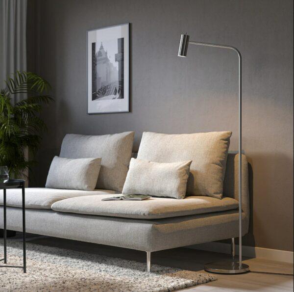 nickel floor reading lamp
