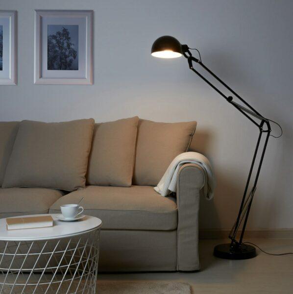 black floor lamp with bulb
