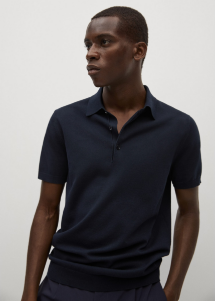 black short sleeve knit polo shirt