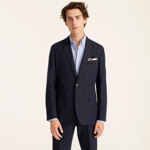 screw unstructured navy Irish cotton-linen suit