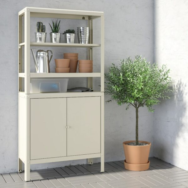 shelving unit with cabinet