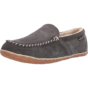 grey indoor soft mocassin style slipper shoe