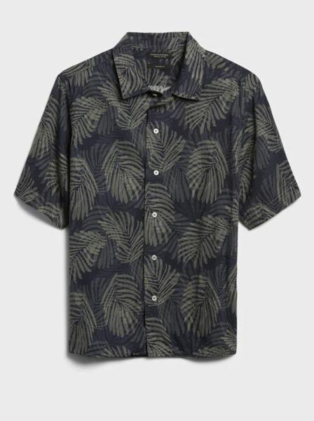 short sleeve button up shirt with palm print design