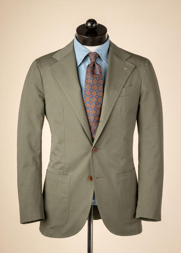 green cotton suit