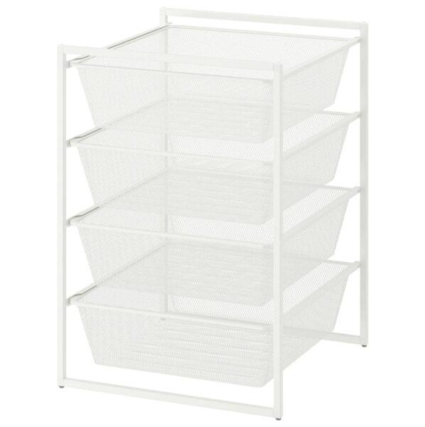 white steel storage basket unit