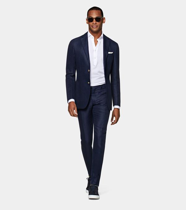 suit supply navy silk blend suit