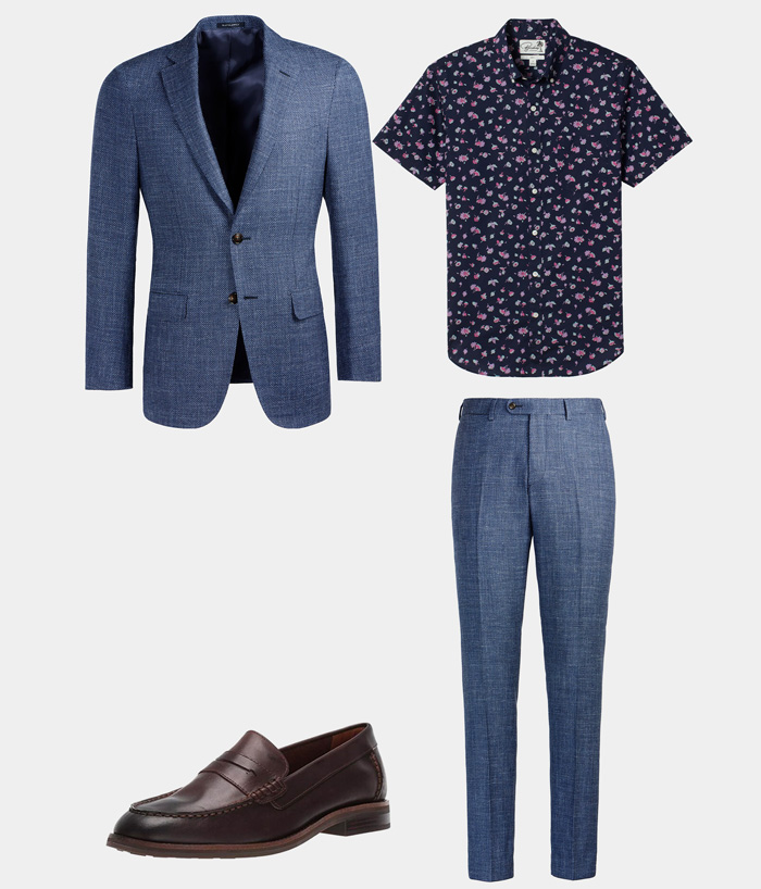 floral shirt and blue suit with loafers for summer wedding
