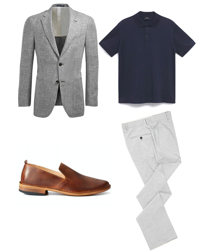 linen blazer with blue polo and brown loafers - wedding outfit idea for men