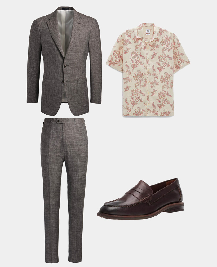 what to wear to a summer wedding: brown suit, floral shirt, loafers
