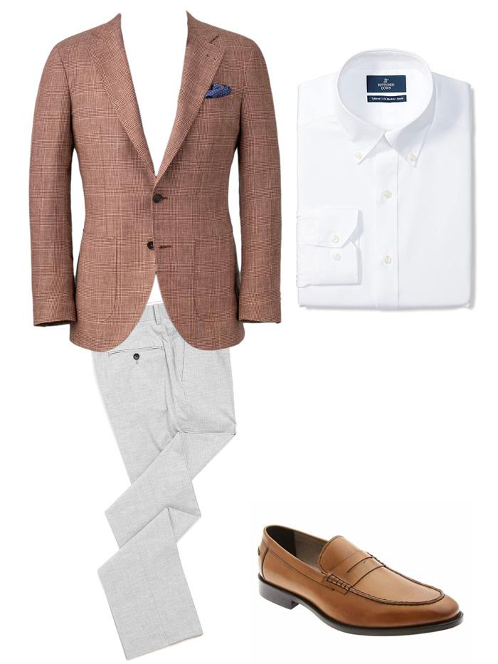 men's red blazer, white dress shirt, gray dress pants, and tan loafers