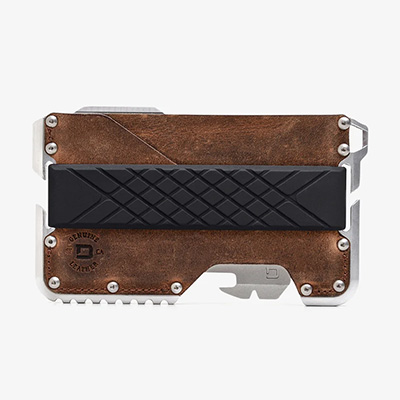 brown rawhide tactical style cardholder wallet