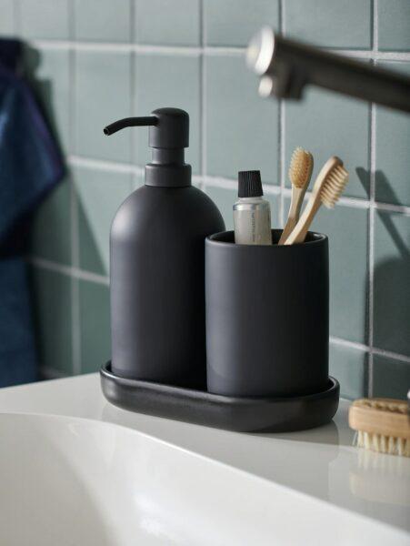 black three piece bathroom set