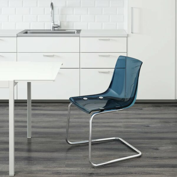 transparent blue and chrome plated chair