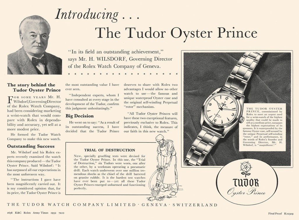 Tudor Watches - vintage tudor watch advertisement