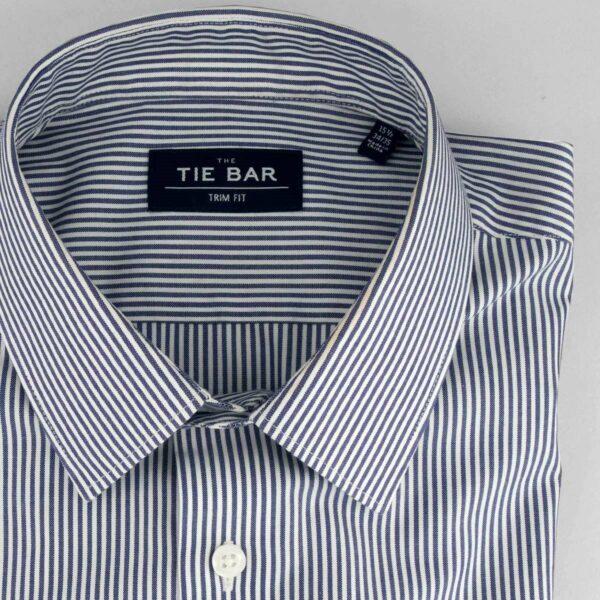 blue and white strip dress shirt