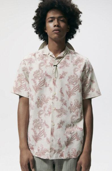 short sleeve button down floral print shirt
