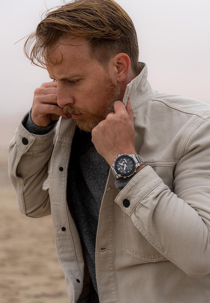 Metal G-Shock MT-G Watch with tan trucker jacket