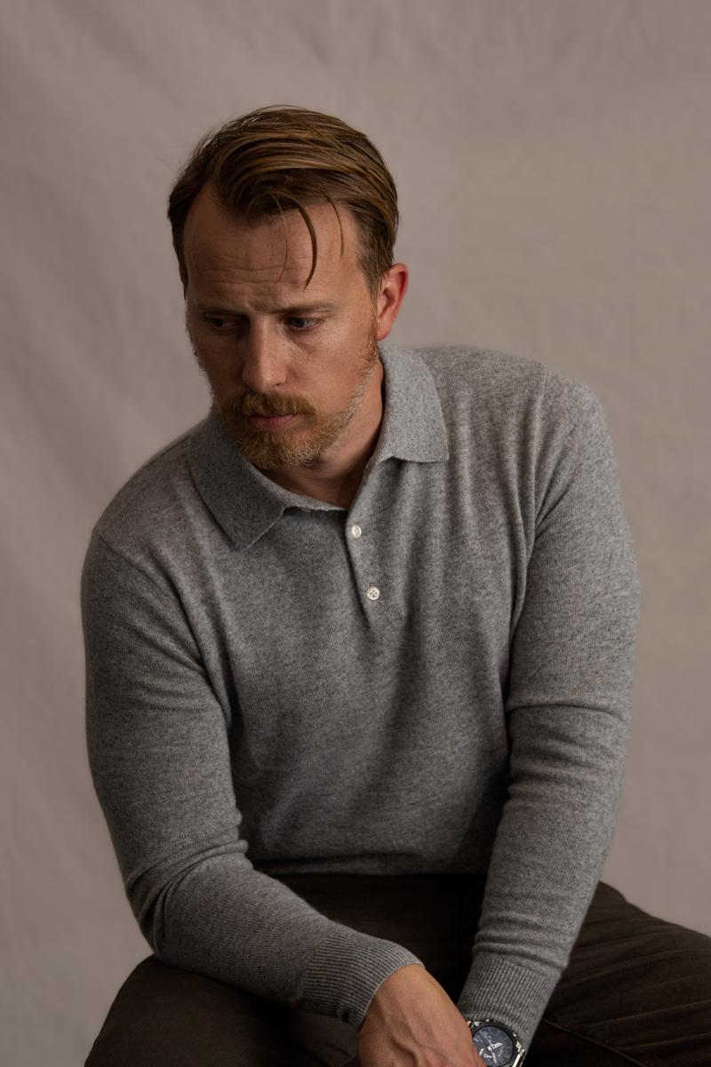 men's grey knit polo