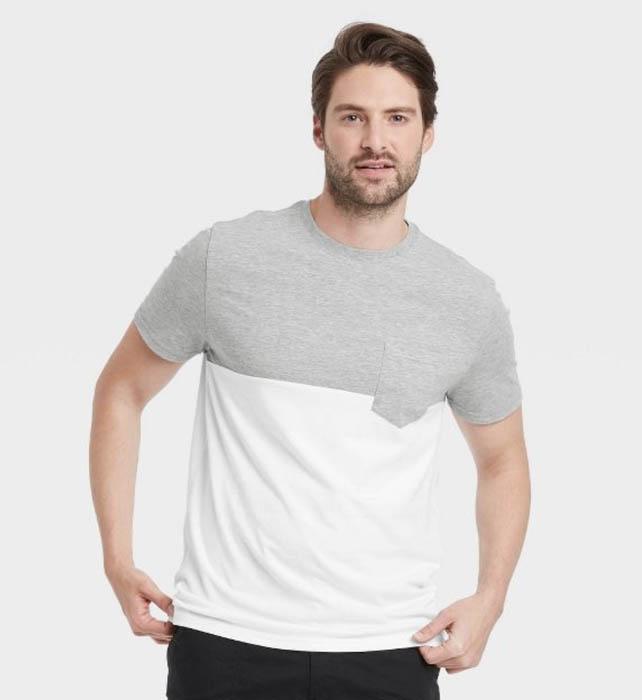 man wearing a grey and white short sleeve crewneck shirt