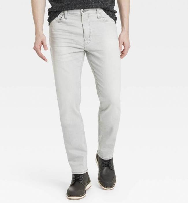 light grey slim fit stretch jeans