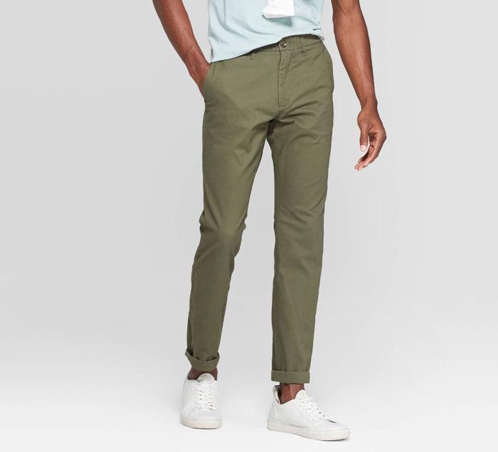 close up of dark green chino pants
