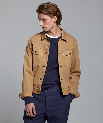 man wearing a brown twill jacket