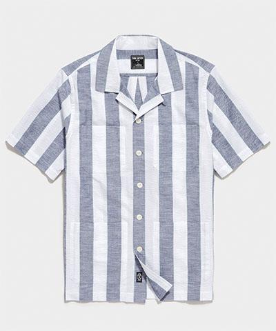 wide stripe button up short sleeve shirt