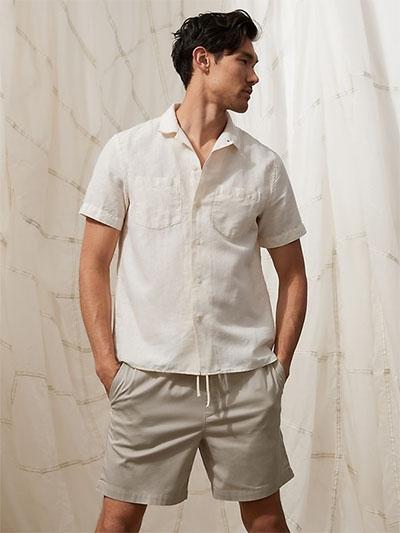 light khaki shorts with drawstring