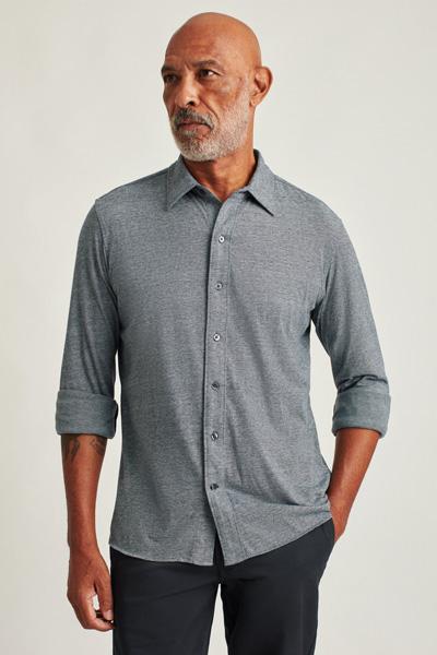 grey button up jersey shirt