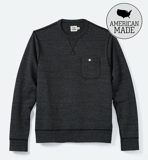 black french terry crewneck shirt