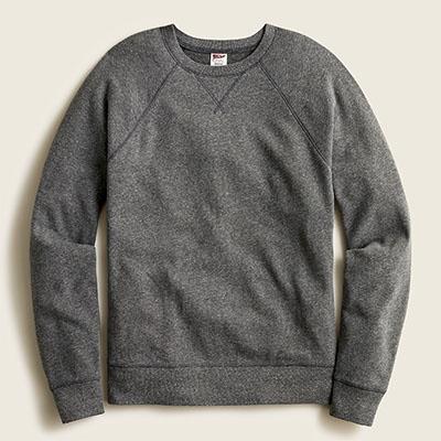 grey fleece crewneck sweatshirt
