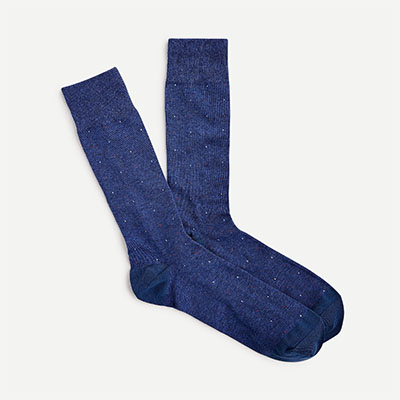 blue and white dot stitch socks