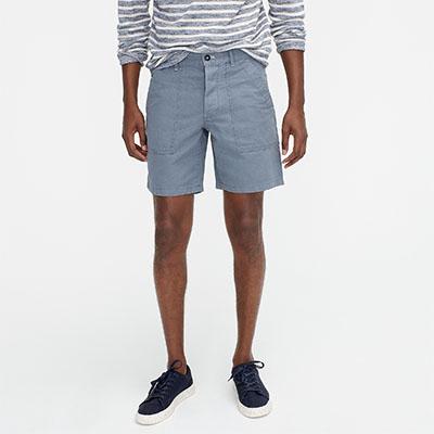 grey cotton linen shorts