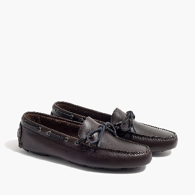 Black leather moccassin shoes
