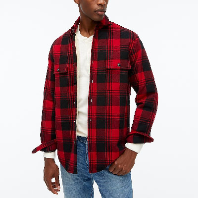 red and black check flannel jacket