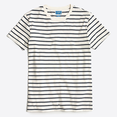 black and white striped short sleeve deck shirt