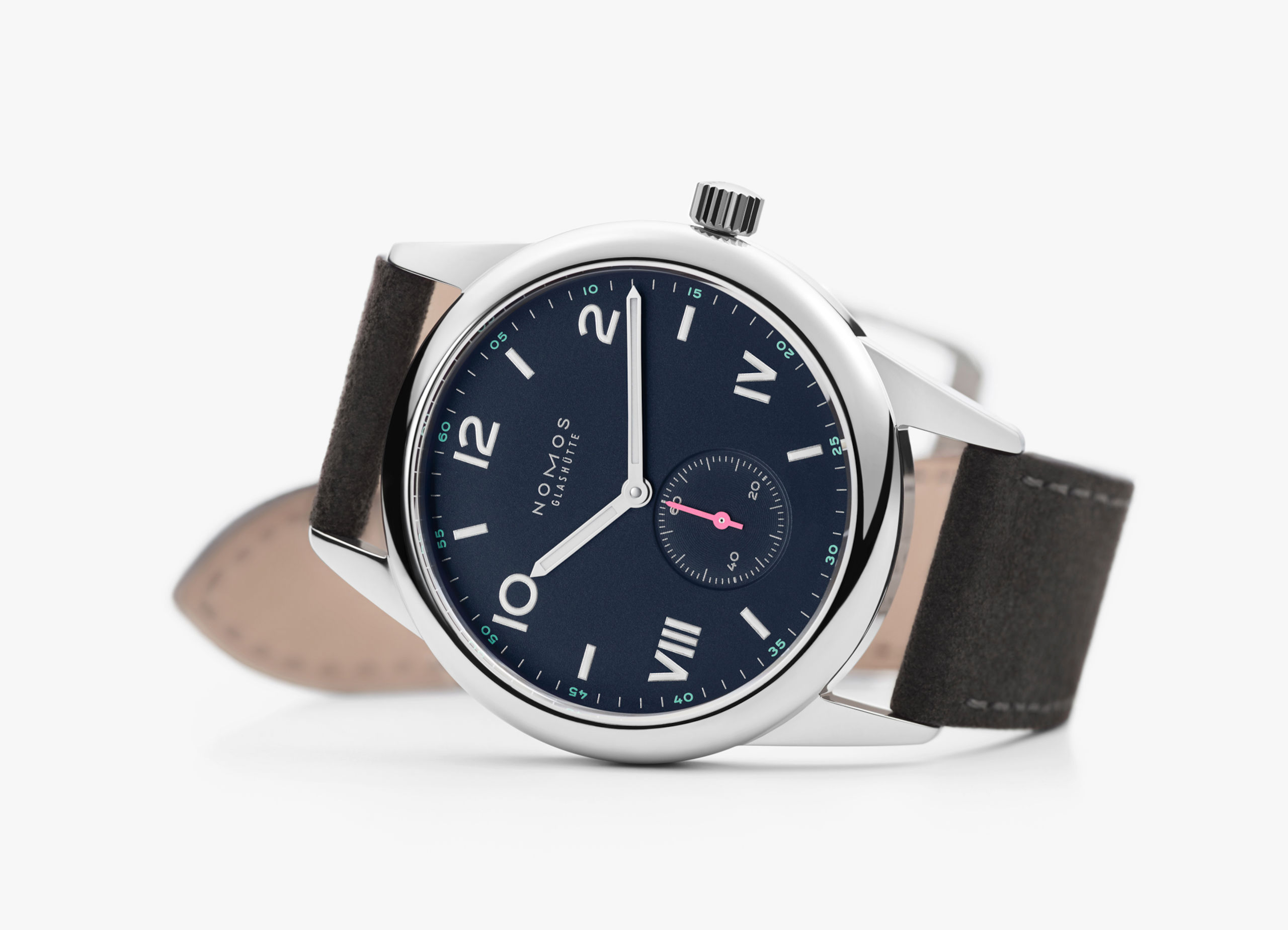Image of watch with brown leather strap and silver and blue face