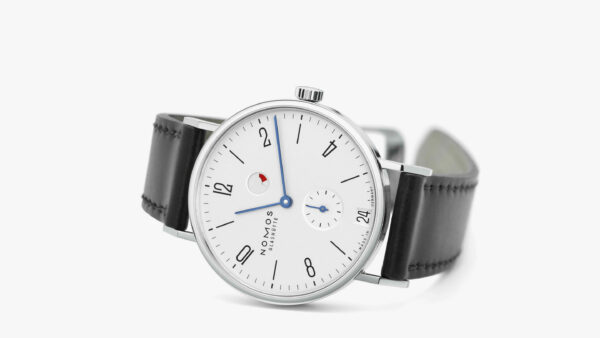 image of watch with black leather strap and white face