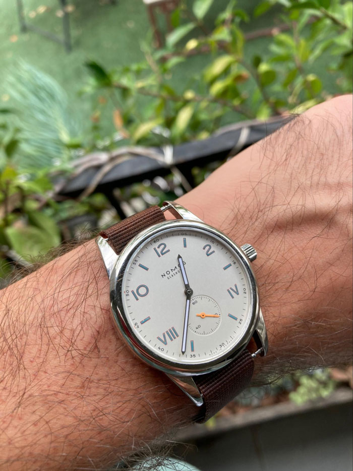 Close up of a Nomos Glashutte watch